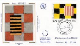 France FDC Premier Jour Soie Tableau Peinture Painting Art 1994 2858 Sean Scully - 1990-1999