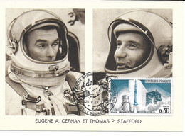 ESPACE FRANCE 1967 LE BOURGET SALON AERONAUTIQUE CARTE EUGENE A.CERNAN  THOMAS P.STAFFORD - Europe