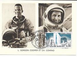 ESPACE FRANCE 1967 LE BOURGET SALON AERONAUTIQUE CARTE L.GORDON COOPER  CH.CONRAD - Europe