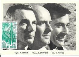 ESPACE FRANCE 1971 LE BOURGET SALON AERONAUTIQUE CARTE E A. CERNAN  T P. STAFFORD  J W. YOUNG - Europe
