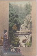 JAPAN - Titles In Japenese (see Scan) - Unused Undivided Rear - Young Girl In Costume & Valley View With Bridge - Kobe