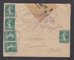 ALSACE RECONQUISE. LETTRE  DE THANN POUR NOVARRA,ITALIE, OUVERTE  PAR LA CENSURE MILITAIRE. - Guerre De 1914-18