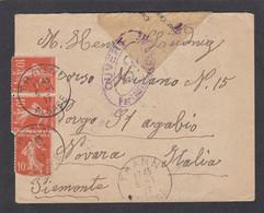 ALSACE RECONQUISE. LETTRE  DE THANN POUR NOVARRA,ITALIE, OUVERTE  PAR LA CENSURE MILITAIRE. - Guerra Del 1914-18