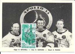 ESPACE FRANCE 1971 LE BOURGET SALON AERONAUTIQUE CARTE E D. MITCHELL  A B. SHEPARD  S A. ROOSA - Europe