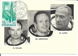 ESPACE FRANCE 1971 LE BOURGET SALON AERONAUTIQUE CARTE M. COLLINS  NEIL ARMSTRONG  ED. ALDRIN - Europe