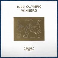 Guyana 1992 Olympics Baseball Fencing Ski Hockey Figure Skating Gold Overpr. Imperf. S/S Or MNH** Very Rare - Verano 1992: Barcelona