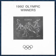 Guyana 1992 Olympics Baseball Fencing Ski Hockey Figure Skating Silver Overpr. Imperf. S/S Argent MNH** Very Rare - Verano 1992: Barcelona