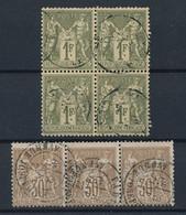 EC-541: FRANCE: Lot Avec N°69 Obl Bande De 3  - -72 Obl Bloc De 4 - 1876-1878 Sage (Tipo I)