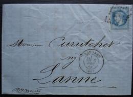 Bayonne 1869 Lettre Pour Lanne Par Aramits (Curutchet Négociant) - 1849-1876: Période Classique