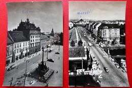 2 X Pilsen - Plzeň - Böhmen - Echt Foto - Alte Autos - Bahnhof Rathaus Brücke - Historische PK - República Checa