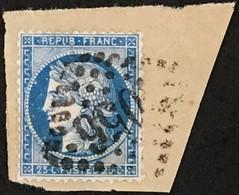 YT 60B LGC (Planchage 55D4 ? À Vérifier) TTB (°) Obl 1871-75 25c Bleu Type II Cérès (50 Euros) France – Fggy - 1871-1875 Ceres