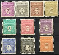 YT 620 à 629 (**) MNH 1944 Arc DeTriomphe De L'étoile (côte 40 Euros) France – Isch - Unused Stamps