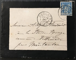 Lettre 101 Rare Sage II Burlats Tarn à Villemade Cachet Castres Au Dos 29.12.1894 France – 8bleu - 1877-1920: Periodo Semi Moderno
