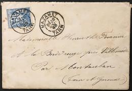Lettre 101 Sage II Mazamet Tarn à Villemade Par Montauban Au Dos 28.8.1899 France – 8bleu - 1877-1920: Periodo Semi Moderno