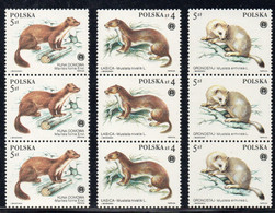 POLAND 1984 PROTECTED SPECIES FUR BEARING ANIMALS STRIPS OF 3 NHM Weasel Marten Ermine Beaver Otter Gopher - Ongebruikt