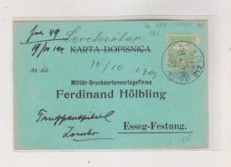 HUNGARY. SERBIA 1909 AMB TRAIN Cancel BAJA-UJVIDEK Nice Postcard To OSIJEK Croatia - Covers & Documents
