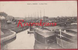Pont A Vendin La Gare D' Eau Peniche Barge Binnenschip Peniches Binnenscheepvaart Pas De Calais France CPA (En Bon état) - Other Municipalities
