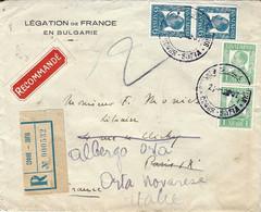 1937 - Enveloppe RECC. De SOFIA  étiquette De Recc. Affr. à 14 L.  Pour La France -réexpédition En Italie - Covers & Documents