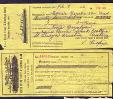 USA - FIRST STATE TRUKS & SAVINGS BANK  INDIANA HARBOR CHEQUES - SHIPS - 1916/20 - Schecks  Und Reiseschecks