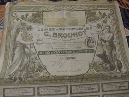 Action Usines D'automobiles G. BROUHOT Capital 3,5 Millions Action De Cent Francs Au Porteur - Unclassified