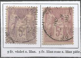 France - Sage (type II) - N°95+95a - 5 Fr. Violet Sur Lilas Et Lilas-rose Sur Lilas Pâle - 1876-1898 Sage (Tipo II)