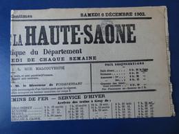France Type Blanc 1c Gris N°107 Annulation Typographique De Journaux Sur L'indépendant De La Haute-Saône 6 Dec 1902 - Cartas