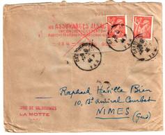 DRAGUIGNAN Var Lettre EMA 1,50 F Paris 92 REUTILISEE PENURIE 1,50 F Yv 652 Exp Laine Valbourgès La Motte Ob 23 11 1944 - Covers & Documents