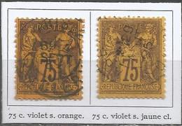 France - Sage (type II) - N°99+99a - 75 C. Violet Sur Orange Et Violet Sur Jaune Clair - 1876-1898 Sage (Tipo II)