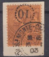 MONACO : ALBERT Ier 50c N° 18 OBLITERATION OL ORIGINE LOCALE SUR FRAGMENT - Usati