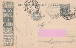 Intero Postale Pubblicitario Viaggiato  - Banca Italiana Di Sconto - Entiers Postaux