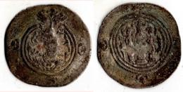 ROI SASSANIDE  CHOSROES II (590 628) Drachme AUTEL DU FEU AVEC DEUX SERVANTS - Grecques