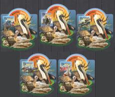 LX559 IMPERF 2015 SIERRA LEONE FAUNA BIRDS WATERBIRDS GOLD OVERPRINT UV CARDBOARD 5BL MNH - Marine Web-footed Birds