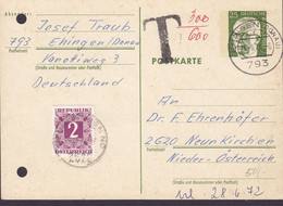 Bundespost Postal Stationery Ganzsache Entier EHINGEN (Donau) 1972 NEUENKIRCHEN Austria T-Cancel TAXE Postage Due Stamp - Cartes Postales - Oblitérées