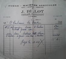G 9  Document /facture Machines Agricoles à Jallais - Agricultura