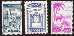 Maroc 1947 Yvert 238 - 239 - 244 ** TB Bord De Feuille - Ongebruikt