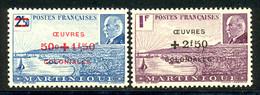 Martinique 1944 Yvert 196 / 197 ** TB Bord De Feuille - Nuovi