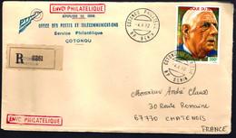 RECOMMANDÉ EN PROVENANCE DE LA RÉPUBLIQUE DU BÉNIN - GÉNÉRAL DE GAULLE POUR CHATENOIS - De Gaulle (General)