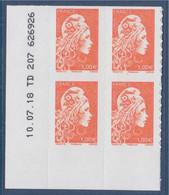 Marianne L'Engagée Coin Daté 1.00€ Orange 10.07.18  TD207 626926 N°1600 Adhésif - 2018-... Marianne L'Engagée