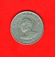 CONGO, 1967 , 5 Makuta Copper Nickel,  KM 9, C3941 - Congo (Republic 1960)