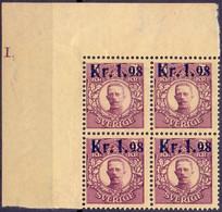 ZWEDEN 1978 Blok Van Vier Opdruk 1.98 Op 5kr Gustaf V PF-MNH - Neufs