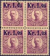 ZWEDEN 1978 Blok Van Vier Opdruk 1.98 Op 5kr Gustaf V Met Plaatfout V1 PF-MNH - Neufs
