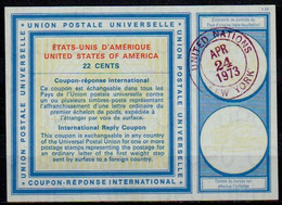UNITED NATIONS NEW YORK Vi20 / XX 22 CENTS International Reply Coupon Reponse Antwortschein IRC o D2 24.04.73 - Briefe U. Dokumente