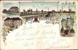 Lithographie Mengede Dortmund, Bahnhof, Altes Schloss, Fabrik, Kriegerdenkmal - Sonstige