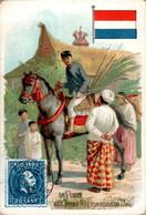 Chromo La Poste Aux Indes Néerlandaises Post Postier Postman Drapeau Des Pays-Bas Flag Asie Du Sud-Est Cheval Horse - Autres