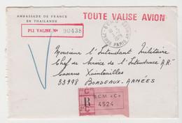 VALISE, Pli De Thaïlande De 1979 Pour Bordeaux Armées , Arrivée BCMC Paris - Civil Frank Covers