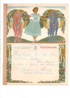 BELGIQUE TELEGRAMME FEMME ET CHEVAUX FLEURIS - Telegraph