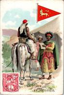 Chromo La Poste En Abyssinie Post Postier Postman Drapeau De L'Abyssinie Flag Afrique Cheval Horse Dos Blanc TB.Etat - Autres
