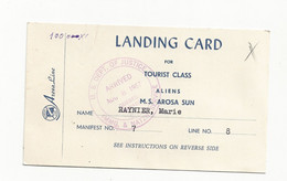 Landing Card For Tourist Class Carte D'arrivée Quebec 1957 - Unclassified