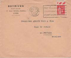 """LYON TERREAUX: Oblitération Flier """"Tout Télégramme / Collationné Est / Exempt D'erreur"""" 1935 - Sellados Mecánicos (Publicitario)"""