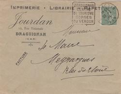 """DRAGUIGNAN (Var) Oblitération Daguin """"Draguignan / Centre / De Tourisme / Gorges / Du Verdon"""" 1924 - Sellados Mecánicos (Publicitario)"""